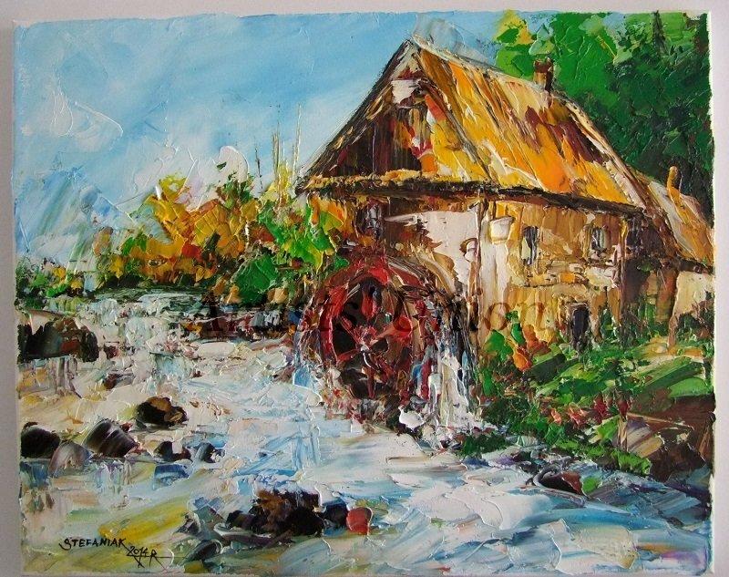Watermill Autumn Original Oil Painting River Landscape Fall Palette Knife Impasto Art Impressionism