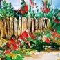 Landscape Farmhouse Rooster Original Oil Painting Cottage Garden Impasto Textured Palette Knife Art