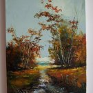 Golden Autumn Original Oil Painting Fall Forest Landscape Impasto Palette Knife Trees Country Road
