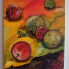 Still Life Apples Original Oil Painting Fine Art Red Green Orange Purple Modern Food Kitchen Art 3D