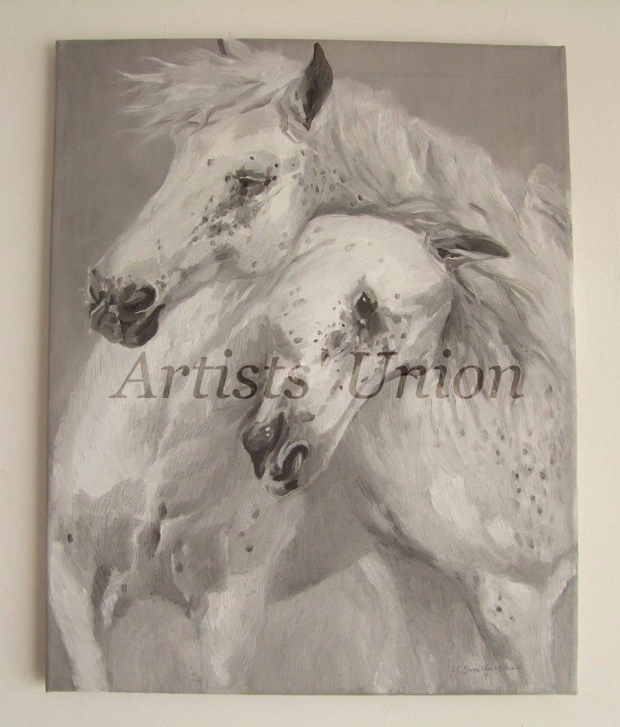 Two Horses Portrait Original Oil Painting Classic Animal Fine Art White Grey Pferd One-Of-A-Kind