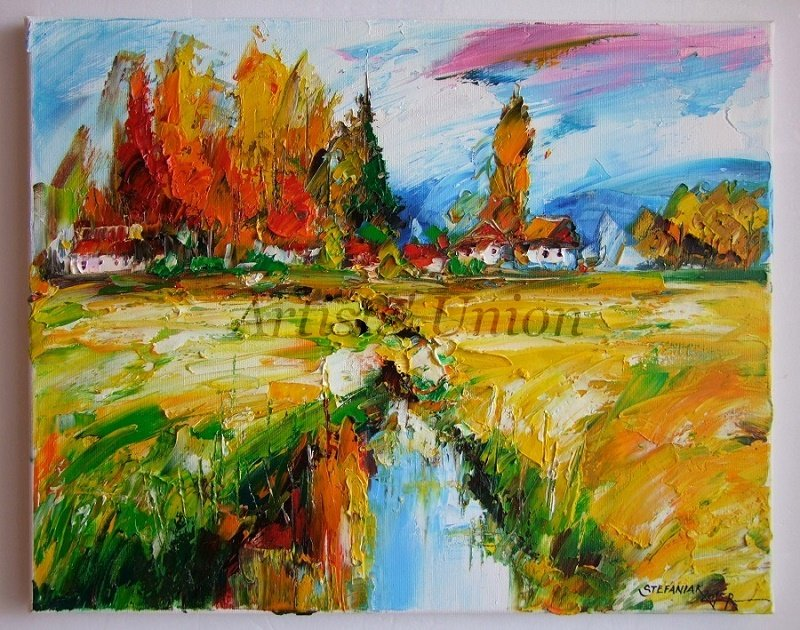 Autumn Landscape Original Oil Painting Palette Knife Art Impasto Fall Impression Fields Lake Cottage