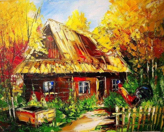 Autumn Original Oil Painting Landscape Rooster Farmhouse Fall Trees Impasto Cottage Palette Knife