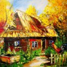 Autumn Original Oil Painting Landscape Rooster Farmhouse Fall Trees Impasto Cottage Palette Knife
