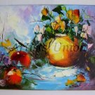 Still Life Impasto Original Oil Painting Flowers Bouquet Red Apples Textured Palette knife Food Art