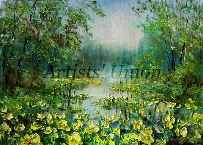 Marigolds Original Oil Painting Spring Landscape Yellow Flowers Forest Lake Trees Impasto Textured