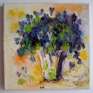 Blue Flowers Original Oil Painting Impasto Still life Palette Knife Art Textured Violets Bouquet