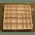 Organizer 28 Sections Wood Tray, Large Display Case Jewelry Keepsake Box Crafts Divider Desk Storage