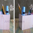 2 Wooden Boxes for Pencils Desk Organizer Pen Crayon Holder Unpainted Pine Wood Square Cup Decoupage