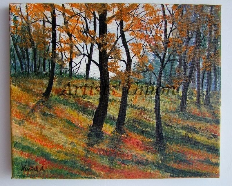 Autumn Forest Original Oil Painting Landscape Impressionist Fall Impression Trees Delicate Textured