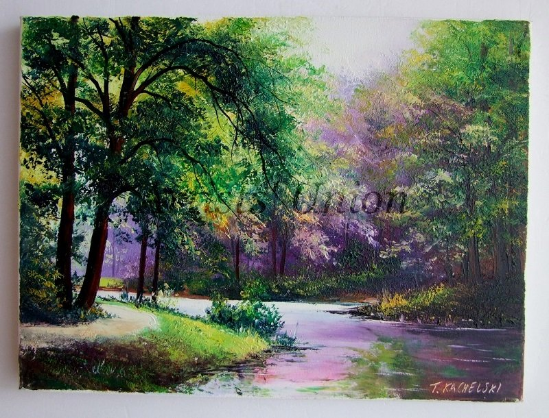 Park Alley Original Oil Painting Trees Landscape Leaves Fog Forest Impasto Green Purple Textured Art