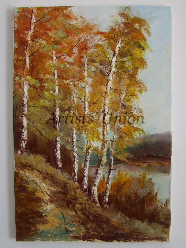 Autumn Birch Trees Original Oil Painting Fall Forest River Landscape Impasto Road Palette Knife Art