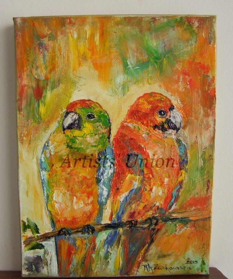 Parrots Bird Art Original Oil Painting Impasto Textured Kids Colorful Fine Art EU Artist Linen