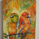Parrots Bird Art Original Oil Painting Impasto Textured Kids Colorful Fine Art EU Artist Linen