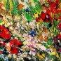 Red Poppies Meadow Original Oil Painting Impasto Palette knife art Textured Flower Daisies EU Artist