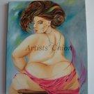 Artistic Nude Original Oil Painting Woman Figure Act Portrait Fine Art Blue Purple Brown EU Artist