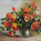 Orange Roses Original Oil Painting Still Life Textured Art Impasto Flowers Bouquet Impression Vase