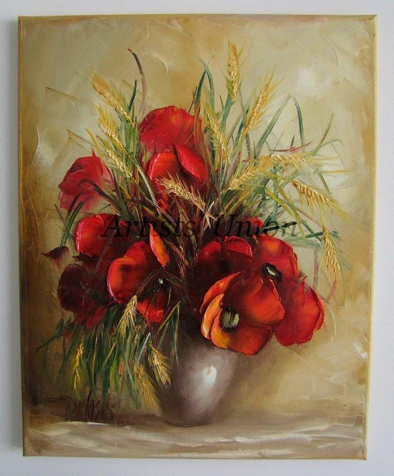 Red Poppies Original Oil Painting Still Life Impasto Wild Flowers Bouquet Textured Palette Knife Art