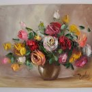 Roses Original Oil Painting Colorful Flowers Still Life Textured Art Impasto Bouquet Vase EU Artist