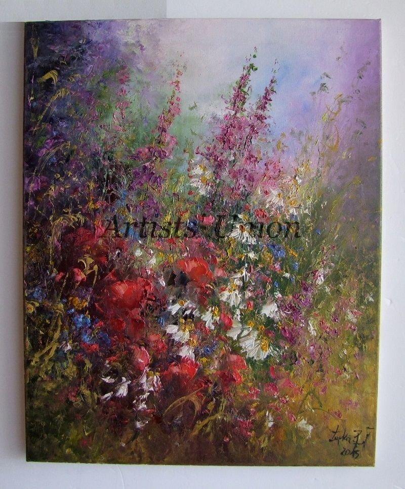 Wild Flowers Meadow Original Oil Painting Impasto Textured Art Red Poppies Daisies Palette EU Artist