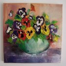 Pansies Original Oil Painting Textured Impasto Palette Knife Colorful Flowers Europe Artist Offer