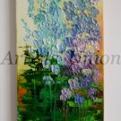 Larkspurs Original Oil Painting Delphinium Impasto Palette Knife Textured Blue Purple Flowers EU Art