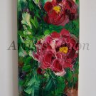 Peonies Original Oil Painting Crimson Peony Impasto Flowers Palette Knife Textured European Artist