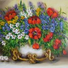 Wild flowers Red Poppies Original Oil Painting Still Life Textured Art Impasto Vase European Artist