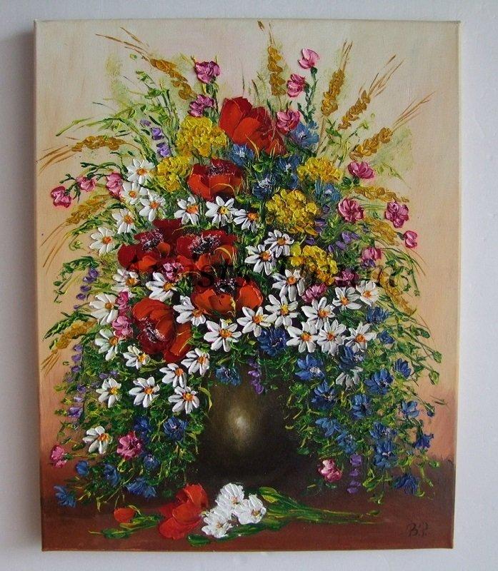 Still Life Original Oil Painting Red Poppies Wild Flowers Textured Impasto Daisies European Artist