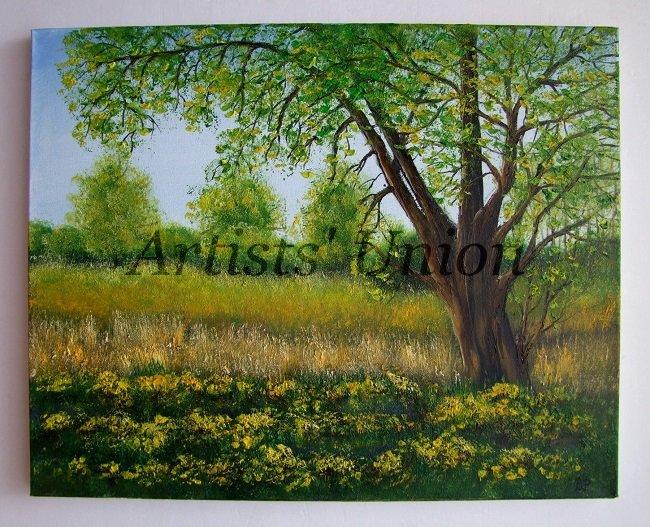 Spring Original Oil Painting Landscape Impasto Countryside Wetlands Trees Flowers Fields EU Artist