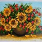 Sunflowers Original Oil Painting Impasto Still Life RedWild Flowers Bouquet Palette EU Artist
