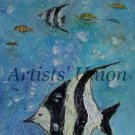 Fish Original Oil Painting Seascape Fine Art Textured Impressionism Linen ArtistsUnion Europe Artist