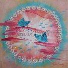 Mandala Original Oil Painting Butterflies Flowers Impasto Nursery Art Feng Shui Pink Bue EU Artist
