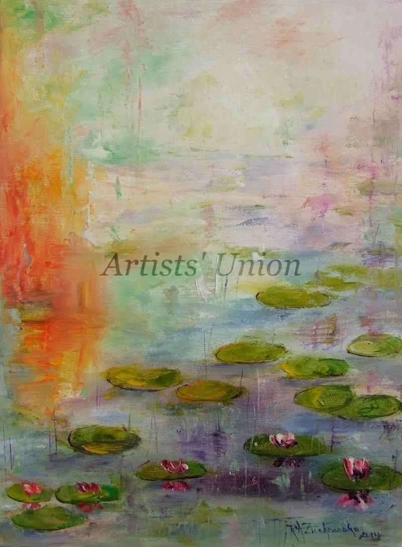 Water Lilies Lake Original Oil Painting Landscape Flowers Impasto Linen Canvas Orange Impression