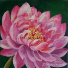 Water Lily Original Oil Painting Pink Flower Impression Nénuphar Fine Art European Artist