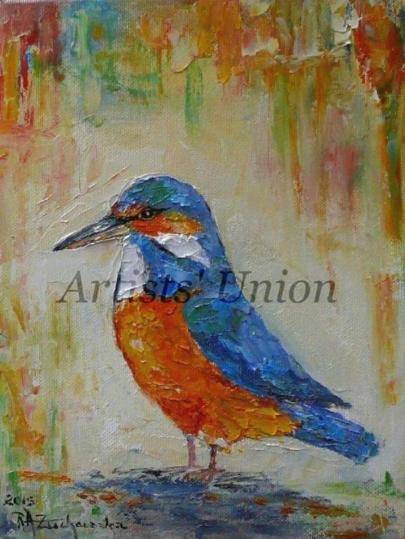 Kingfisher Original Oil Painting Bird Nursery Wall Decor Art Pájaro Colorful Impasto Linen Blue