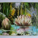 Water Lilies Original Oil Painting Pond Impasto Palette Knife Textured Flowers Impression EU Artist