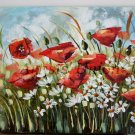 Red Poppies Original Oil Painting Meadow Impression White Daisies 28 in. Palette knife art EU Artist