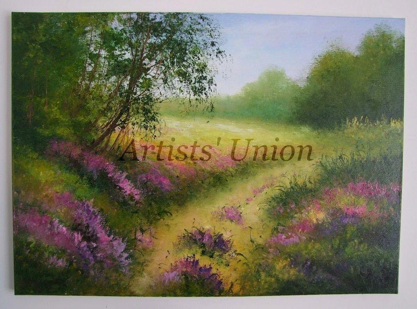 Lavender Original Oil Painting Landscape Impasto Forest Flowers Meadow 28 in. Purple EU Artist Offer