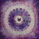 Purple Mandala Original Oil Painting Butterfly Flower Feng Shui Impasto Nursery Art Palette Knife EU