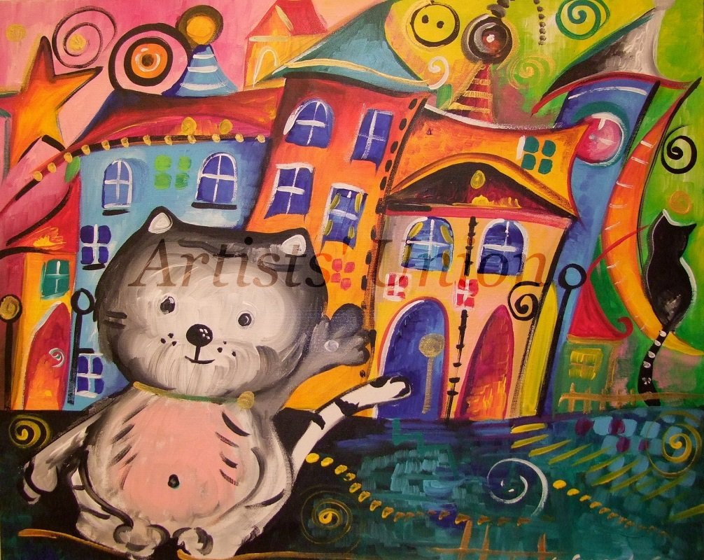 Kitty Original Acrylic Painting Cats Magical Cityscape Moon Fairy Tale Kids Baby Shower EU Artist