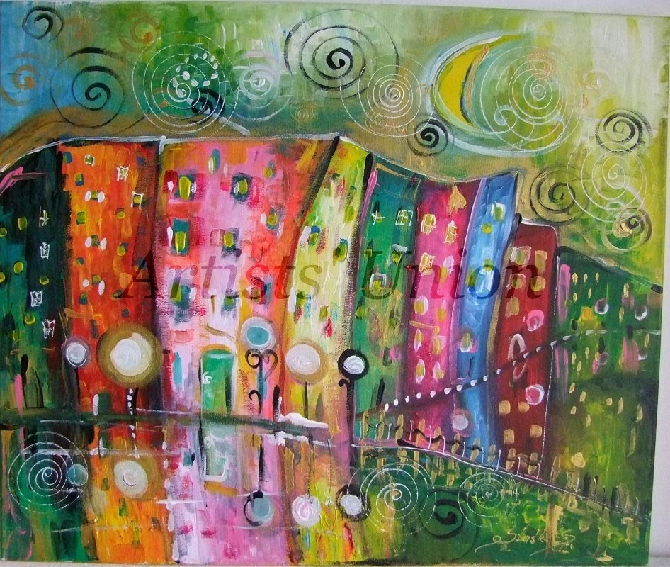 Magical Rain Original Acrylic Painting Moon Kids Art Fairy Tale Cityscape EU Artist Baby Shower Gift