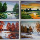 Four Seasons Original Oil Paintings Landscapes Impasto Fine Art 4 PCS  Palette knife Autumn Textured