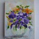 Purple Flowers Original Oil Painting Impasto Still Life Bouquet Orange Impressionism Vase EU Artist