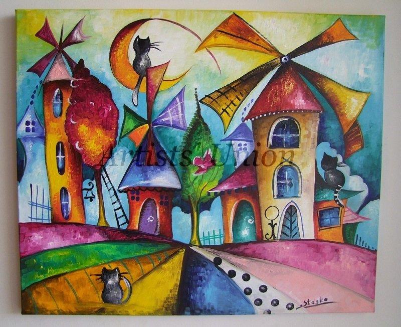 Magic Windmills Original Acrylic Painting Cats Fine Art for Kids Moon Colorful City Shower EU Artist