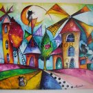 Magic Windmills Original Acrylic Painting Cats Fine Art for Kids Moon Colorful City Shower EU Artist