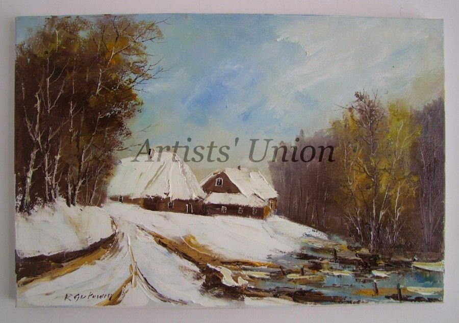 Winter Original Oil Painting Landscape Forest Lake Countryside Cottages Impasto Palette Knife Art