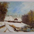 Winter Original Oil Painting Landscape Forest Lake Countryside Cottages Impasto Palette Knife Art