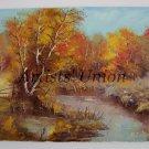 Autumn Forest Original Oil Painting Lake Fall Landscape Impasto Colorful Trees Palette Knife Texture