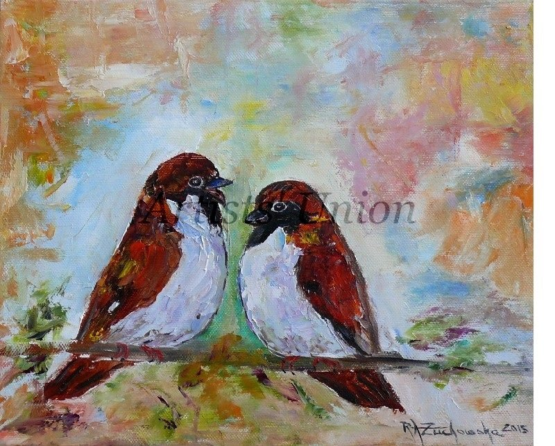 Sparrows Original Oil Painting Two Birds Fine Art Textured Impression Linen artistsunion EU Artist